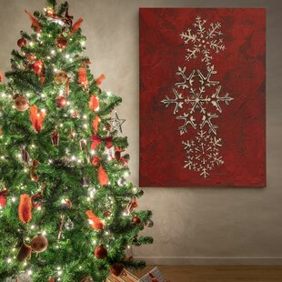 Snowflakes On Red I Photographic Print Wrapped Canvas