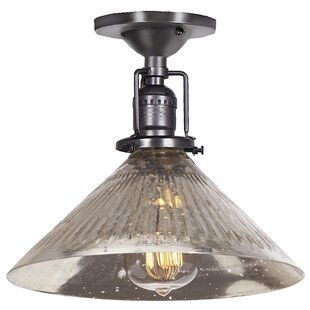Shumway 1-Light Blown Glass Semi Flush Mount by Breakwater Bay