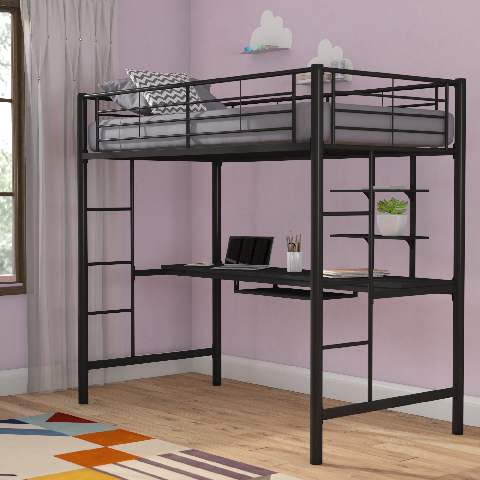 Loon Peak Belfort Twin Loft Bed With Wood Workstation Reviews