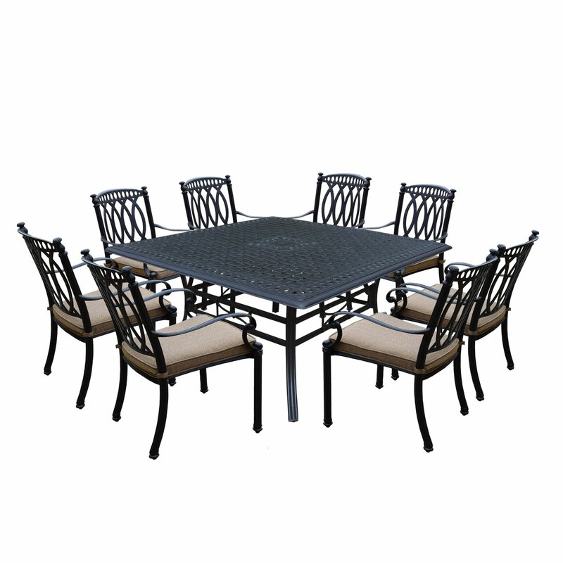 Otsego 9 Piece Cast Aluminum Dining Set With Cushions