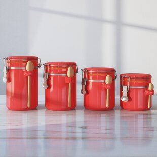 Red Coffee Tea Sugar Canisters - The Coffee Table