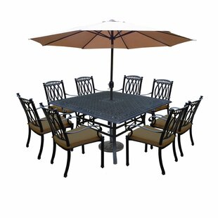 Morocco Aluminum 9 Piece Dining Set with Cushions and Umbrella
