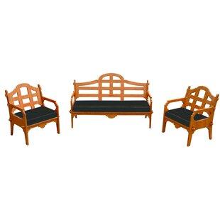 Burliegh 3 Piece Sunbrella Sofa Set with Cushions