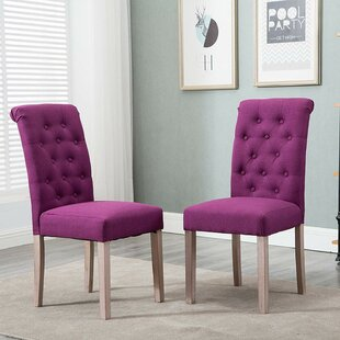 Tambellini Tufted Upholstered Parsons Chair in Purple Set of 2 by Charlton Home