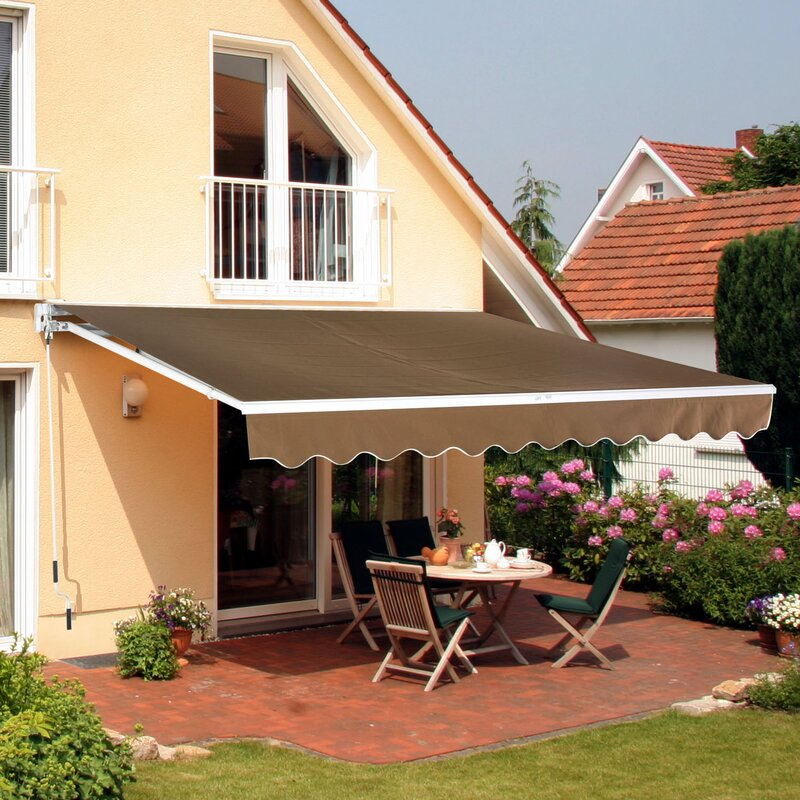 Outsunny 13 ft. W x 8 ft. D Fabric Retractable Standard ...