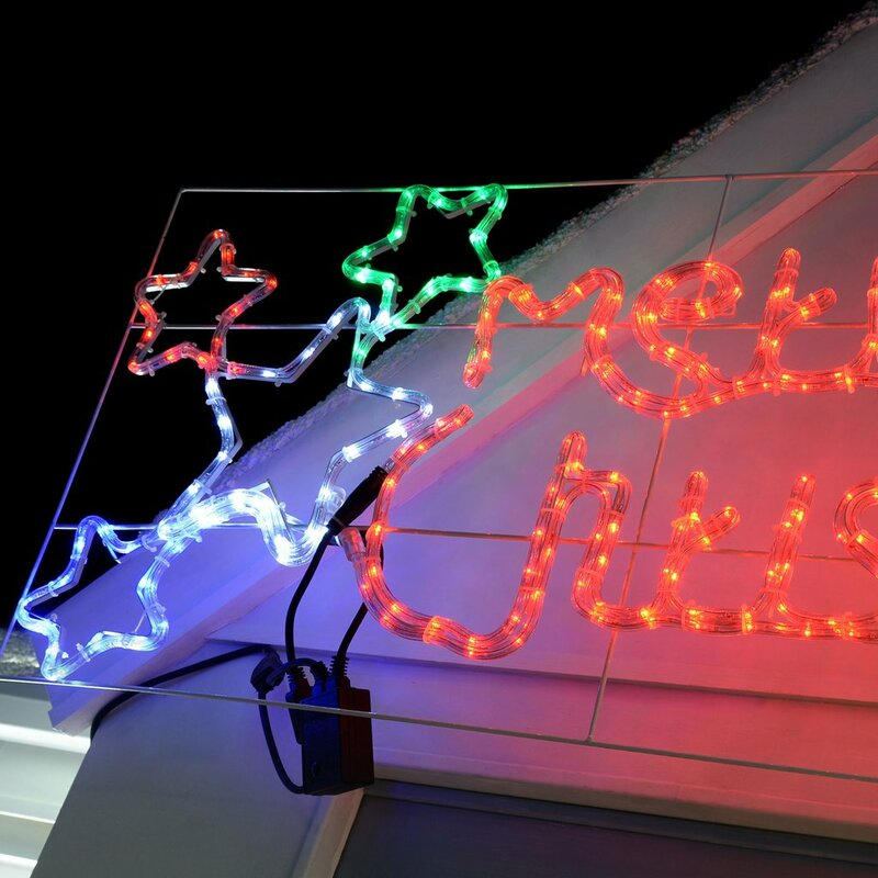124cm animated merry christmas sign with flashing stars rope light