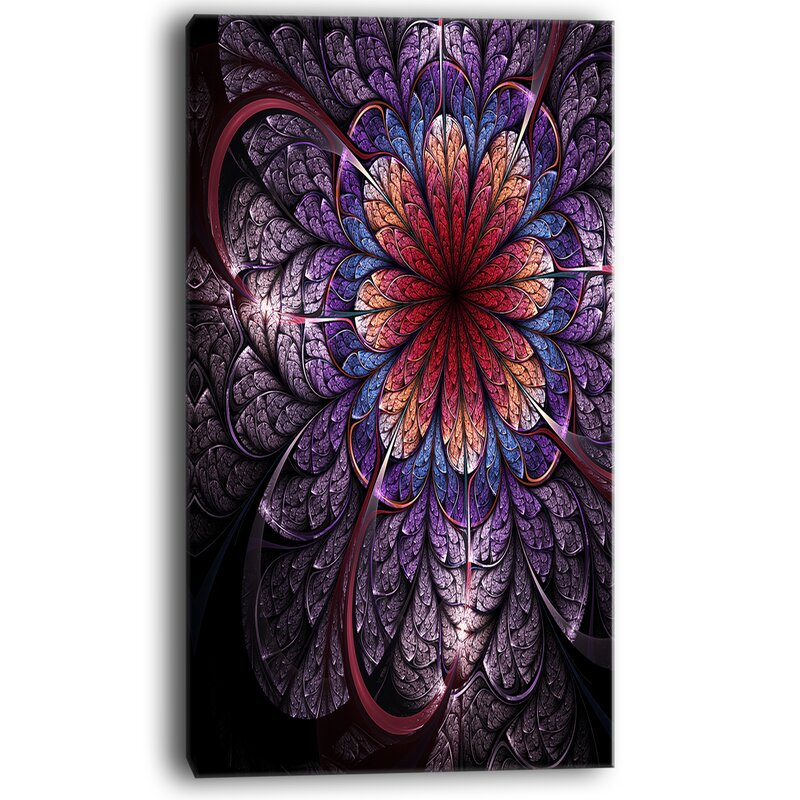 Designart Glittering Bright Colorful Fractal Flower Wrapped Canvas Graphic Art Print On Canvas Wayfair