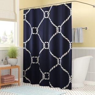 Beachcrest Home Bridgeport Geometric Mesh Shower Curtain