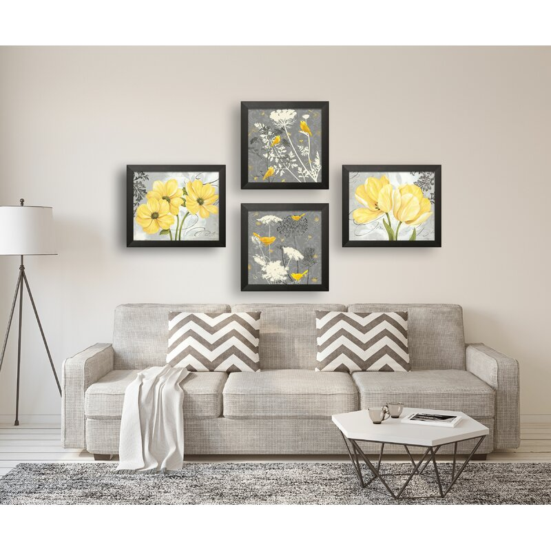 Latitude Run Beautiful Floral And Botanical By Pamela Gladding And Jill Meyer 4 Piece Graphic Art Set On Canvas In Yellow And Gray Reviews Wayfair