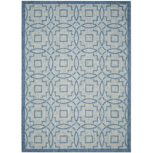 Mcdaniel Hand Tufted Grey/Aqua Blue Indoor/Outdoor Rug Image