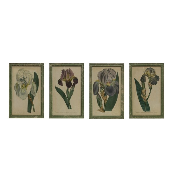 Rosalind Wheeler Reproduction Iris 4 Piece Picture Frame Print Set On Wood Wayfair