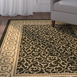 Short Black/Beige Indoor/Outdoor Area Rug