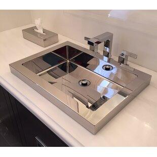 Price Check Metal Rectangular Drop-In Bathroom Sink ByCantrio Koncepts