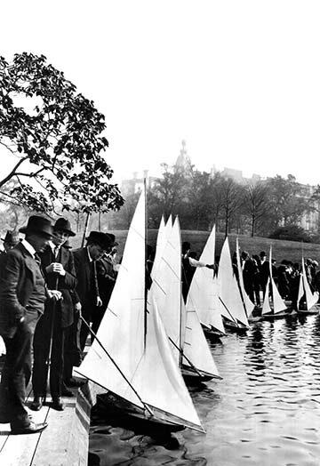 Buyenlarge Central Park Model Boat Yachtsmen Photographic Print Wayfair