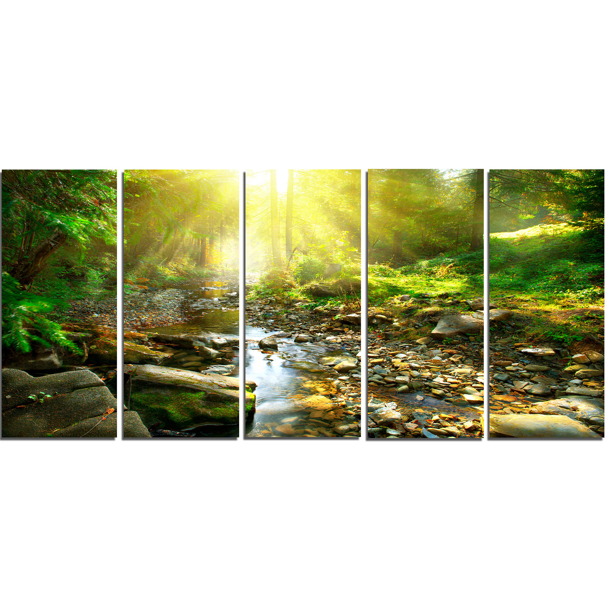 DesignArt Mountain Stream in Forest 5 Piece Wall Art on Wrapped ...