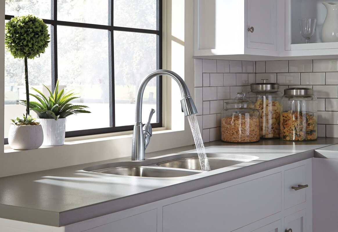 Delta Allora Pull Down Touch Single Handle Kitchen Faucet with ...