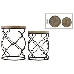 Pernell 2 Pieces Nesting Tables with Recessed Wood Top by Gracie Oaks