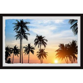 East Urban Home Black Palm Leaves Picture Frame Print On Paper