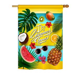 Fruity Summer Time Summer 2-Sided Polyester 2'3 X 3'3 Ft. House Flag by Breeze Decor