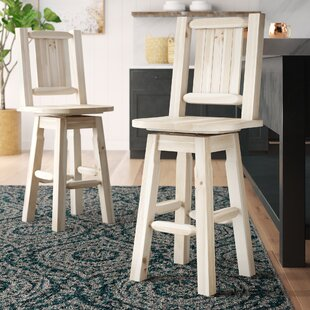 Abella Slat Back 30 Swivel Barstool by Loon Peak