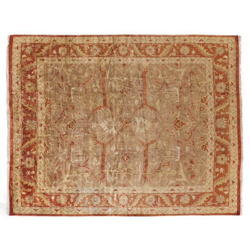 Exquisite Rugs Anatolian Oushak Hand Knotted Wool Brown Rust Area