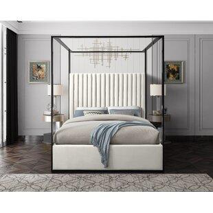 Gianluca Cream Velvet Upholstered Canopy Bed by Mercer41