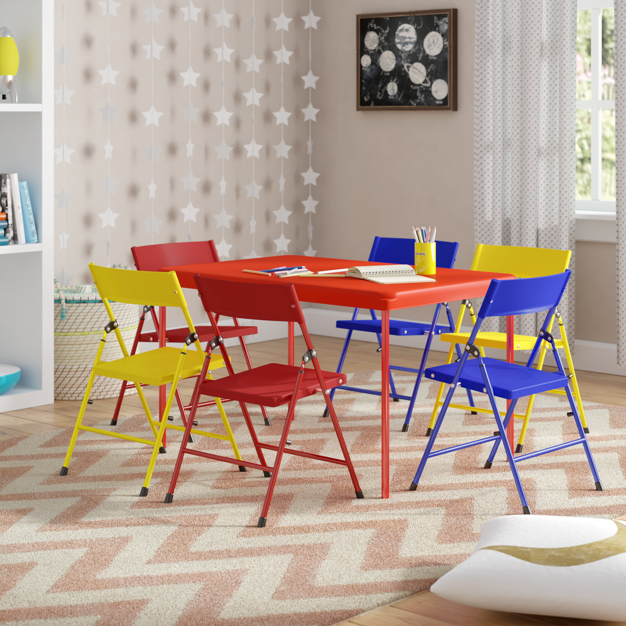 Phenomenal Adrian Kids 7 Piece Play Table And Chair Set Machost Co Dining Chair Design Ideas Machostcouk
