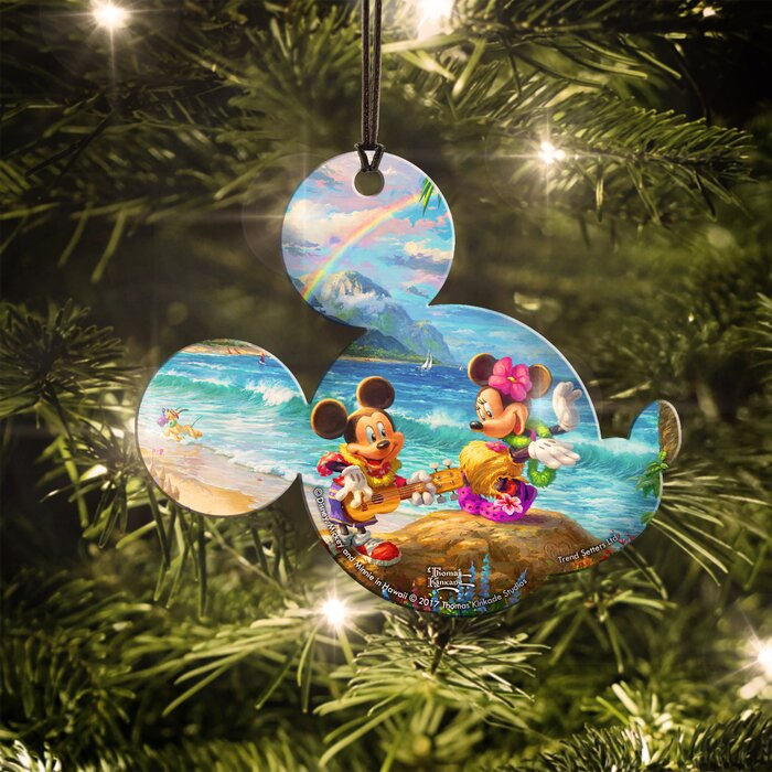 Mickey And Minnie Mouse Christmas Tree Decorations.Disney Mickey And Minnie Mouse In Hawaii Hanging Decoration