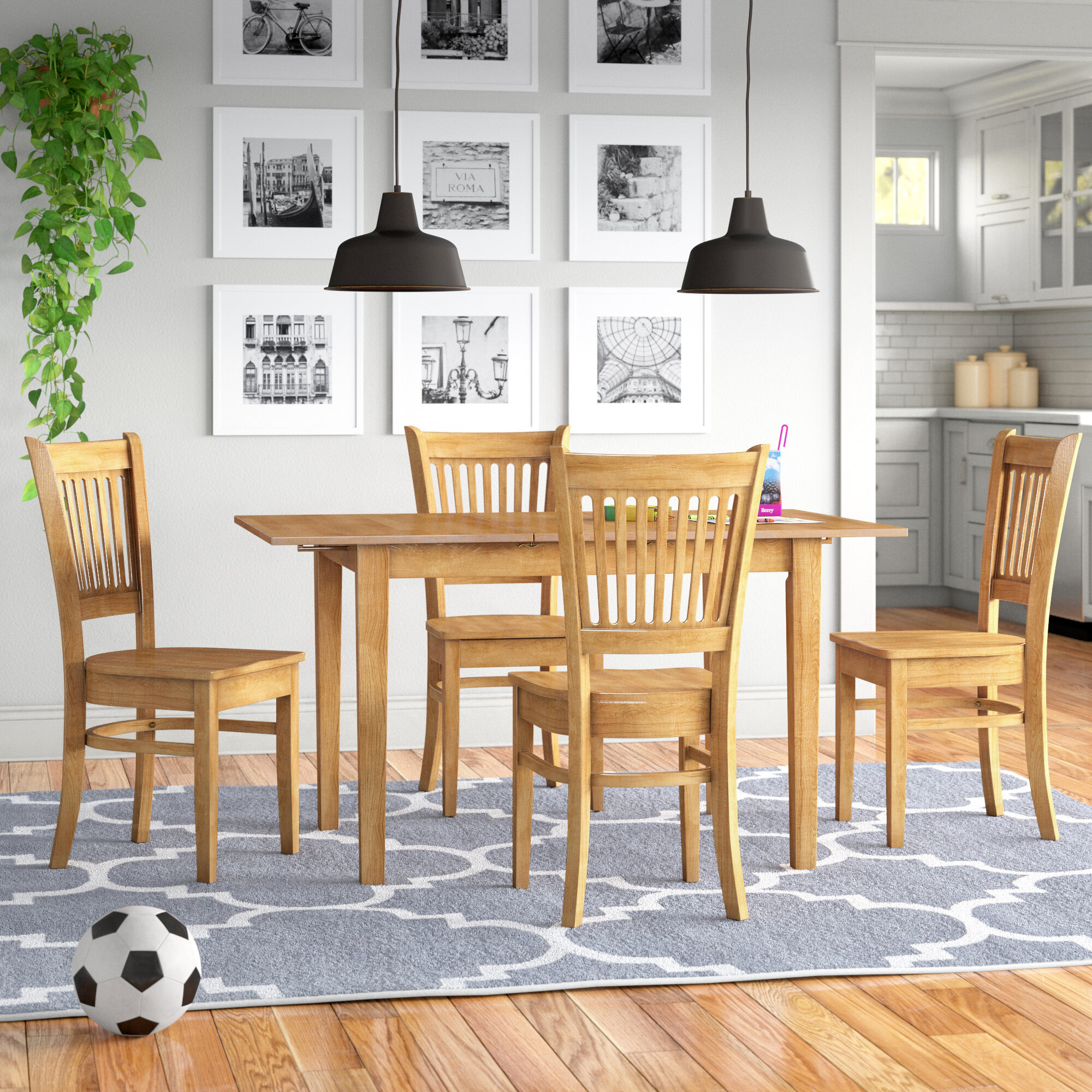 Andover Mills Antonio Butterfly Leaf Solid Wood Dining Set Reviews Wayfair