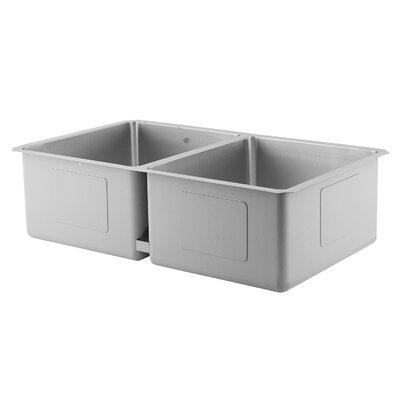 32 L x 9 W Double Basin Undermount Kitchen Sink with Basket Strainer DAX
