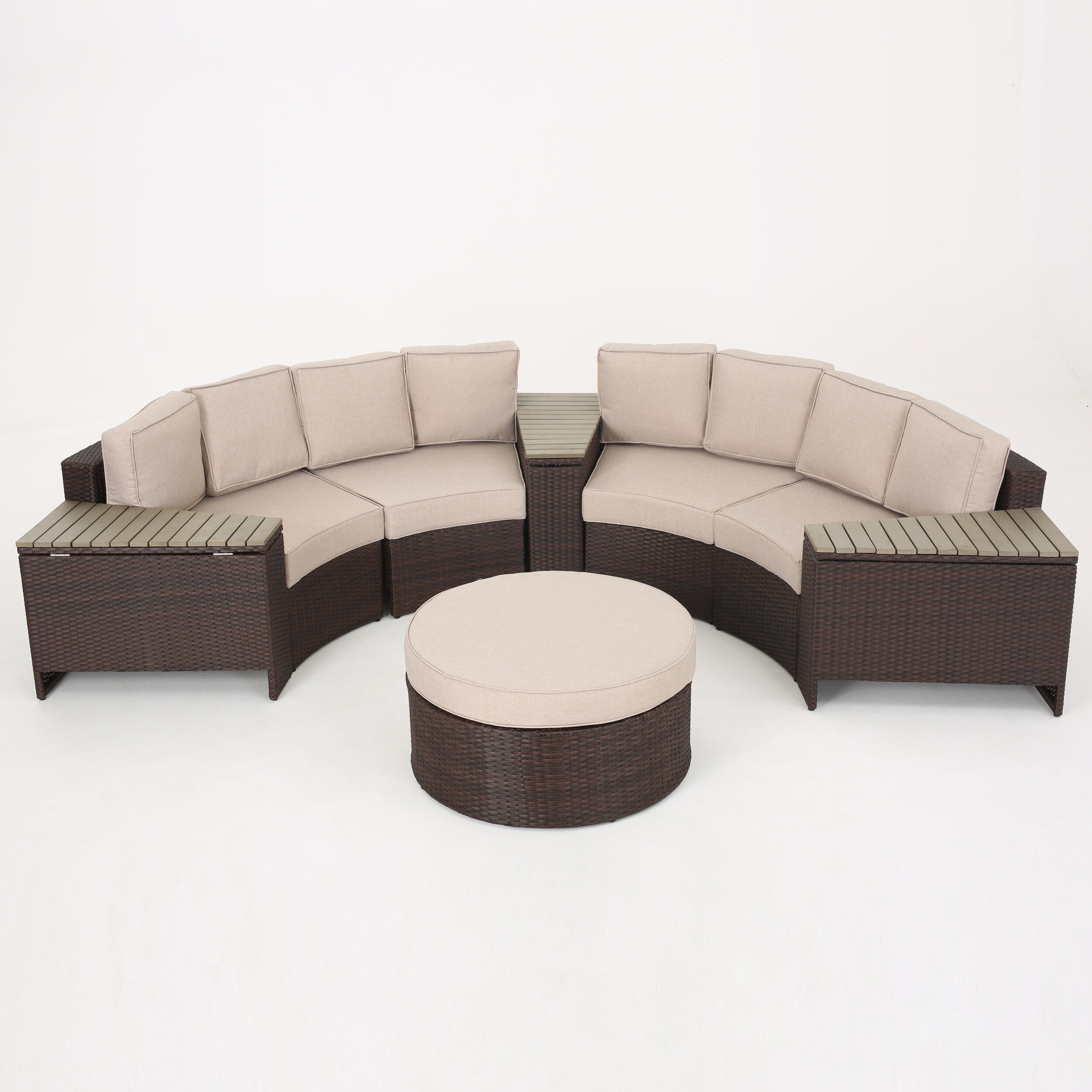 Sol 72 Outdoor Bermuda 8 Piece Rattan Sectional Seating Group With Cushions Reviews Wayfair