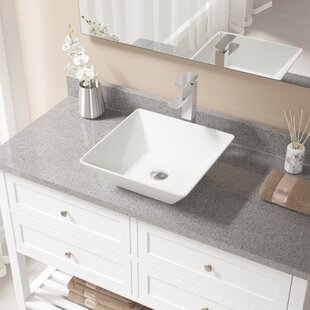 Low priced Vitreous China Square Vessel Bathroom Sink with Faucet ByMR Direct