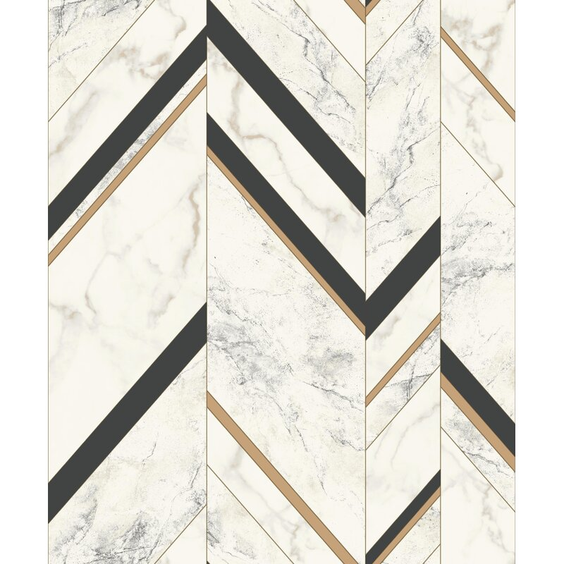 Ivy Bronx Drumroan 32 8 L X 20 8 W Marble Chevron Wallpaper Roll Images, Photos, Reviews
