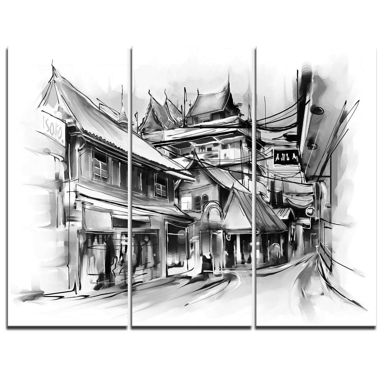 Designart City Street Illustration 3 Piece Graphic Art On Wrapped Canvas Set Wayfair