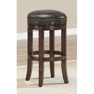 Bulwell 26 Swivel Solid Wood Bar Stool DarHome Co