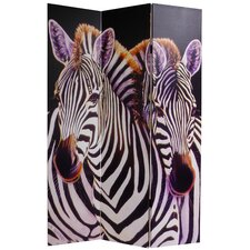 70.88 x 47.25 Elephant and Zebra 3 Panel Room Divider by Oriental Furniture