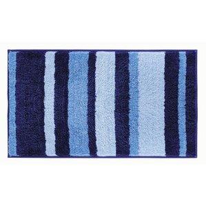Rain Microfiber Stripes Shower Accent Bath Rug