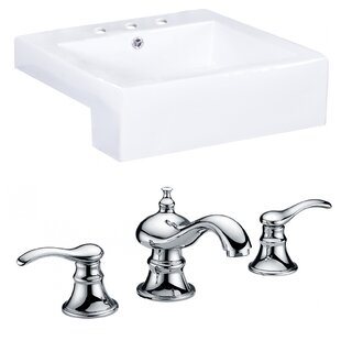 Compare prices Xena Farmhouse Semi-Recessed Ceramic Rectangular Vessel Bathroom Sink with Faucet and Overflow By Royal Purple Bath Kitchen