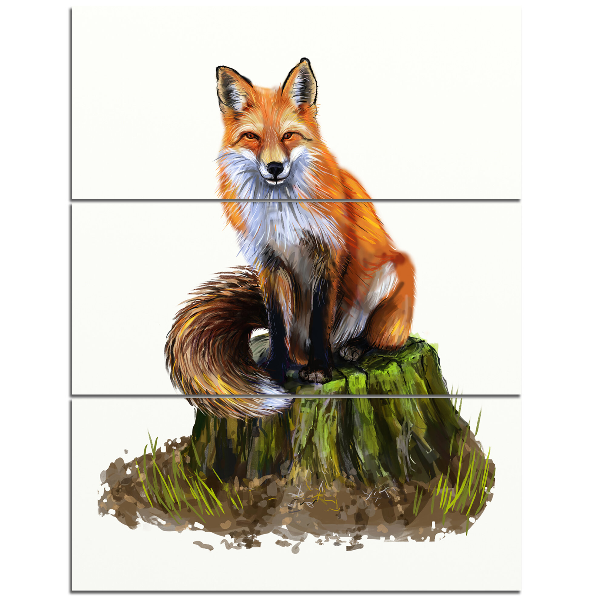 Designart The Clever Fox Illustration 3 Piece Wall Art On Wrapped Canvas Set Wayfair
