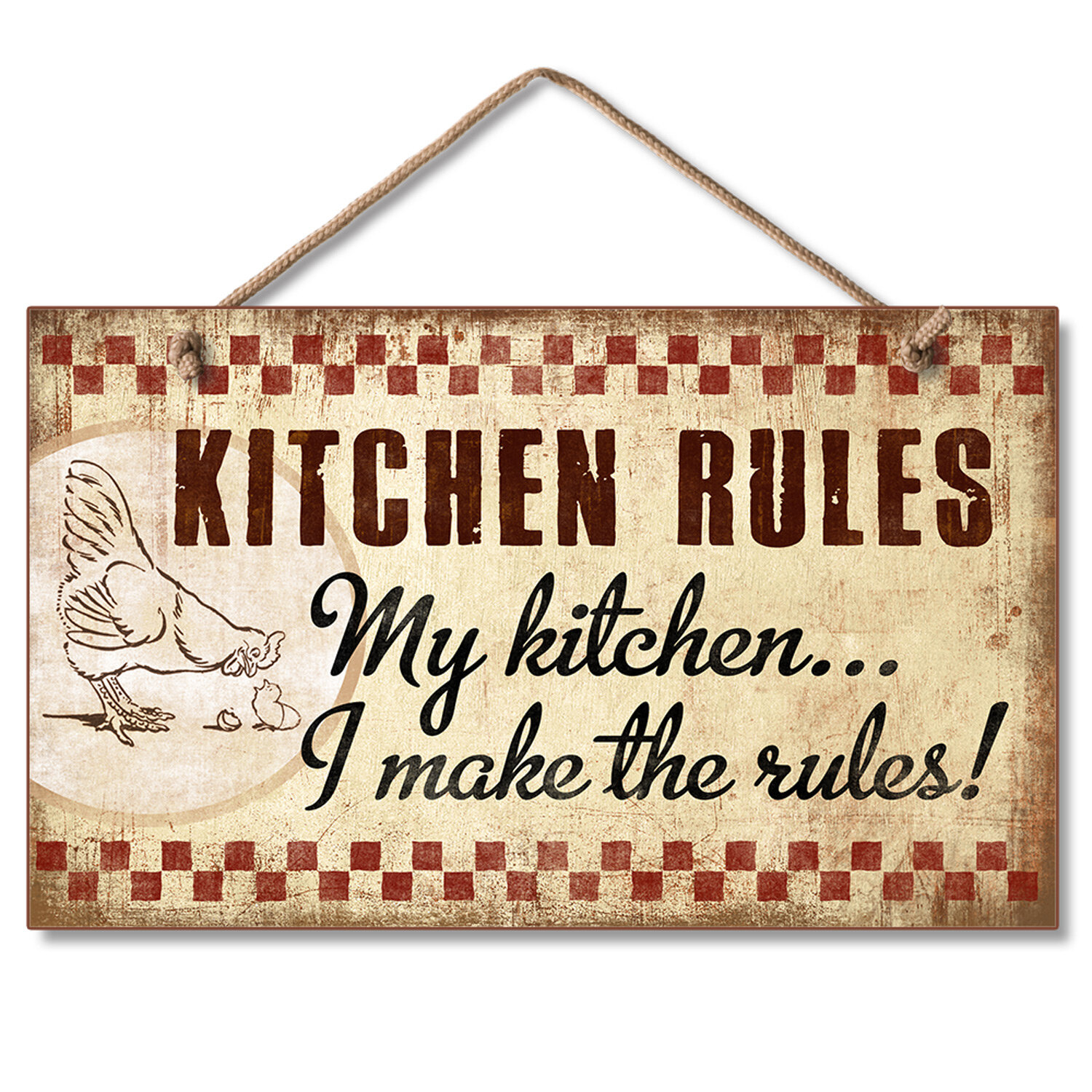 August grove kitchen rules hanging handcrafted wood sign wall décor wayfair