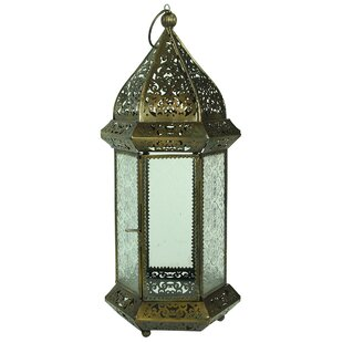Metal and Glass Lantern by World Menagerie