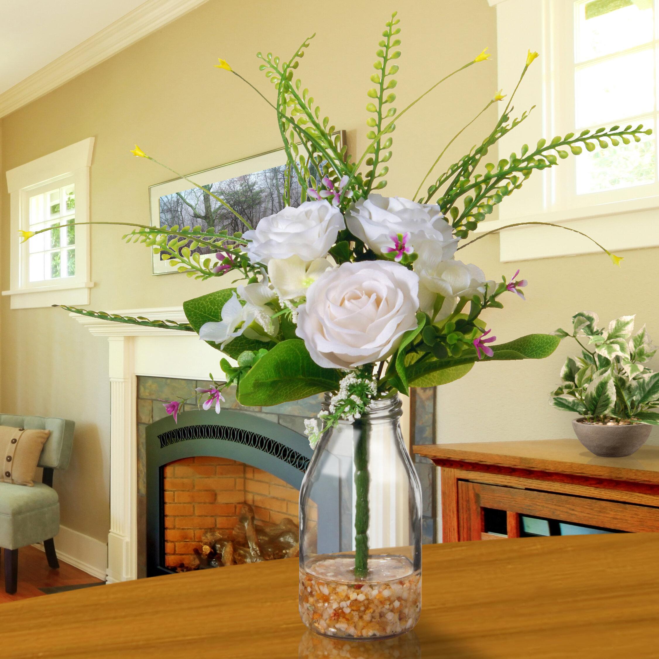 August Grove Roses Floral Arrangement In Glass Vase Reviews Wayfair