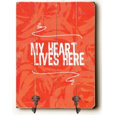 My Heart Lives Here Planked Wood Wall Mounted Coat Rack by Zipcode Design