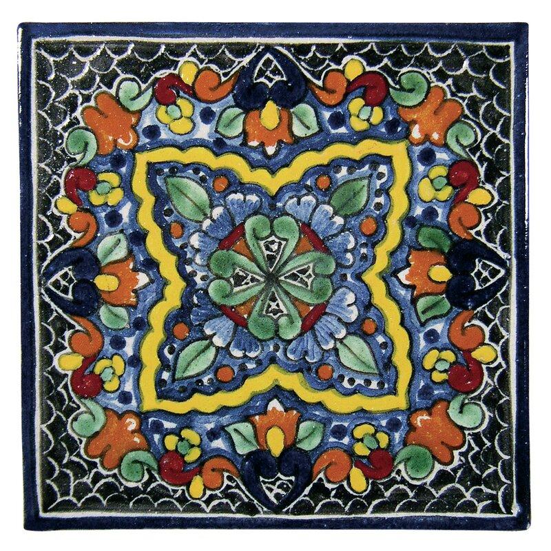 Quatrefoil 6 X Hand Painted Talavera Tile