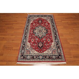 Best Reviews One-of-a-Kind Elkton Traditional Persian Hand-Knotted 3'9 x 6'3 Wool Rust/Black/Aqua Area Rug By Isabelline