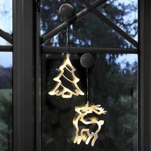 8-Light White Tree And Reindeer Luminaries Image