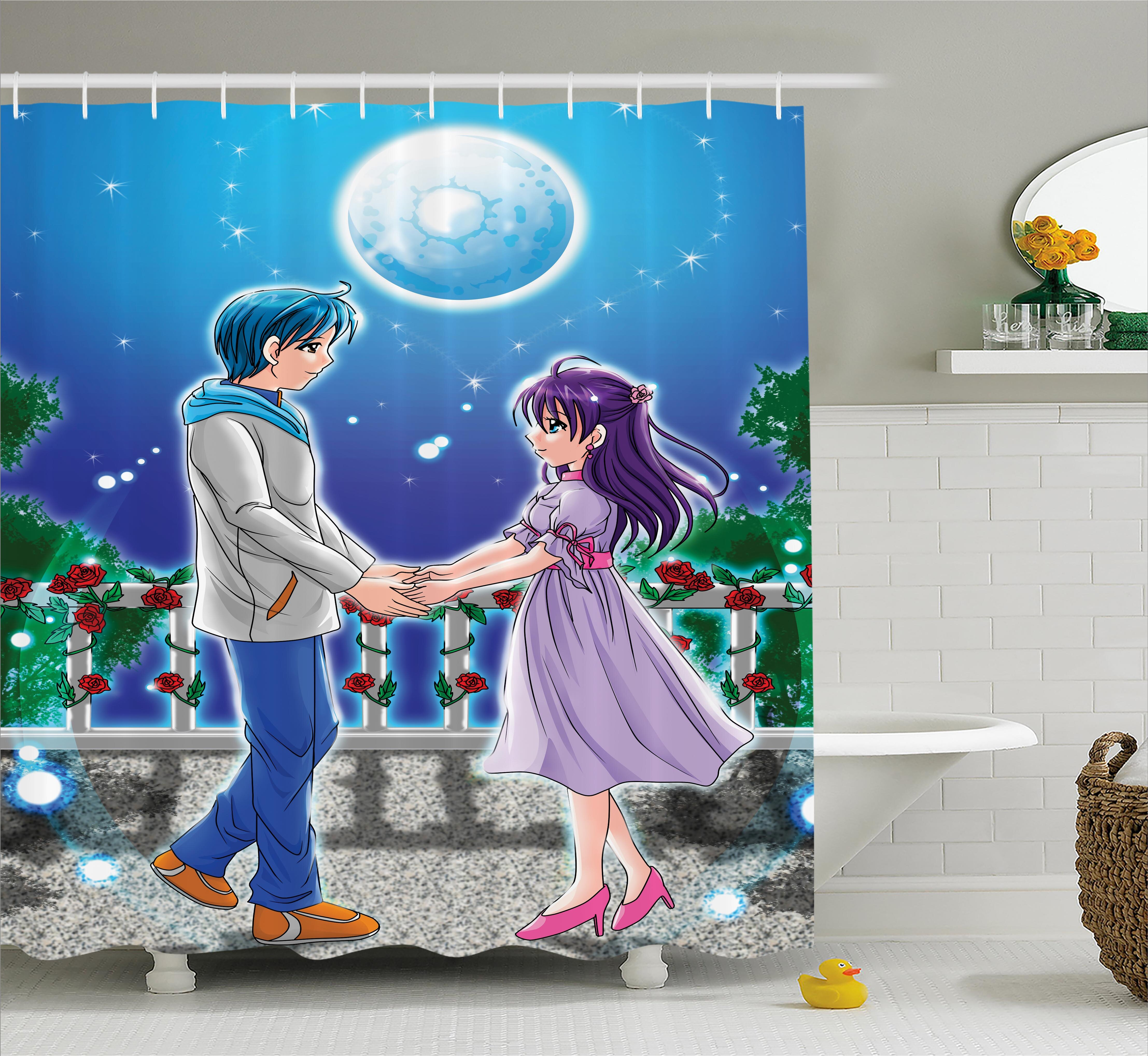 East Urban Home Anime Decor Romantic Manga Shower Curtain Wayfair