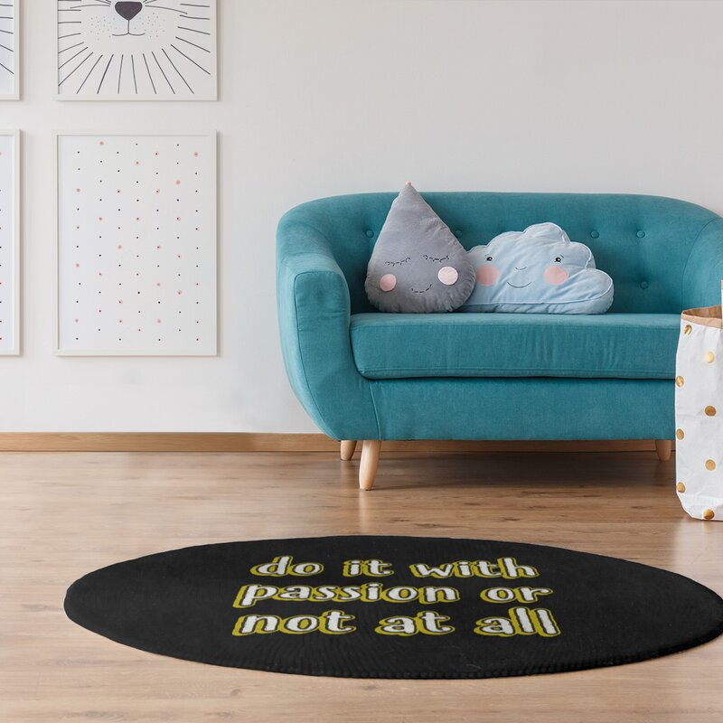 East Urban Home Passion Inspirational Quote Chalkboard Style Poly Chenille Rug Wayfair