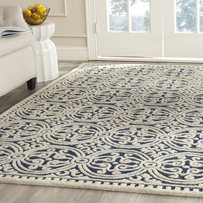 Fairburn H Tufted Wool Navy Area Rug