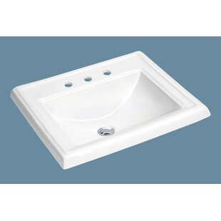Soleil Top Mount Vitreous China Rectangular Drop-In Bathroom Sink with Overflow